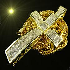 JESUS CROSS CHARM PENDANT14K YELLOW G/P SIMULATED DIAMOND 3.85 INCH FRANCO CHAIN