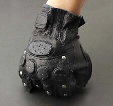 Men's Stud Biker Punk Driving Motorcycle Fingerless Leather Gloves LB06