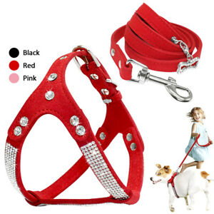 Bling Rhinestone Dog Step In Harness and Lead Leash Soft Suede Pet Walking Vest