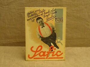 Ancienne publicité carton Safic bretelles supports chaussettes