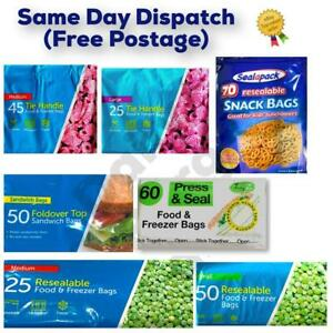 NEW FOOD FREEZER BAGS Tie Handle Bags Resealable bags Sandwich bags All Sizes