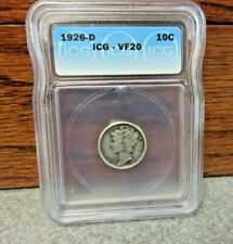 1926-D Winged Liberty Head or Mercury Dime ICG : VF20