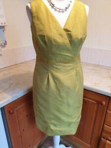 Ladies Monsoon Mustard Yellow/Green Summer Party Dress Size 12