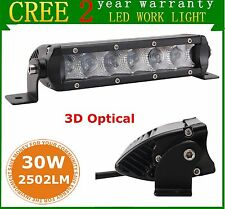 2pcs 7INCH 30W CREE LED Light Bar Single Row Flood Offroad 4WD Jeep Truck ATV