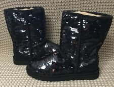 UGG CLASSIC SHORT SEQUIN BLACK BOOTS WOMENS SIZE 9