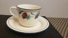 LENOX POPPIES ON BLUE TEA CUP AND SAUCER SET