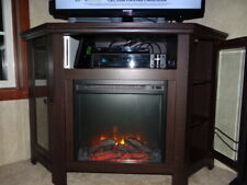 Modern Corner Electric Fireplace Wooden TV Stand Entertainment Media Console
