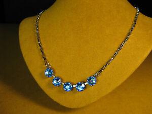 MARIANA NECKLACE SWAROVSKI CRYSTALS BLUE BEADS SILVER P MOSAIC Gift Christmas