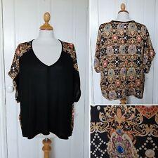 TRAFFIC PEOPLE Jewel Print & Black Floaty Top L UK 12-14 Boho Holiday