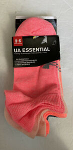 UNDER ARMOUR Women's Socks NO SHOW 6 Pairs Assort Colors Size M - New