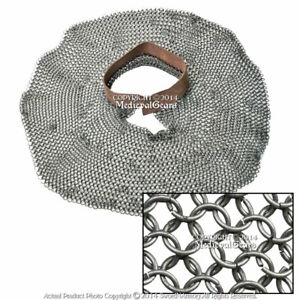 Medieval Chainmail Aventail Neck Protector Leather Collar High Tensile RIngs