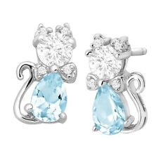 1 7/8 ct Natural Sky Blue Topaz & CZ Cat Stud Earrings in Sterling Silver