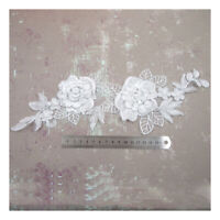 WHITE LACE APPLIQUES 340mm x 120mm WITH SILVER EDGE PEARL, SEQUINS  BRIDAL H5086