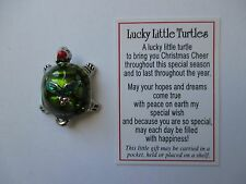t LUCKY LITTLE TURTLE Token pocket Charm good luck Christmas Holly pendant ganz