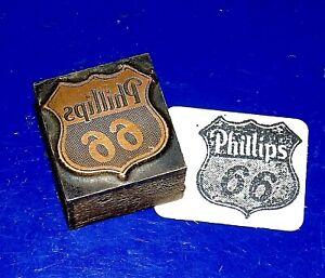 "Vintage ""Phillips 66"" Copper on Wood Printers Block"