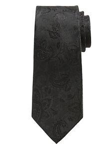 NWT Banana Republic Black 100% Silk Tonal Paisley Silk Tie