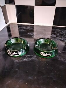 VINTAGE LARGE CARLSBERG GREEN GLASS ASHTRAY - PUB BAR MAN CAVE