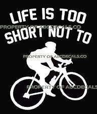 LIFE 2 SHORT CYCLING Road Bike Guy Street Race in Helmet Car Decal Wall Sticker