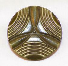 Art Deco Celluloid Button Oive Green Geometric Vintage Historical Clothes #7