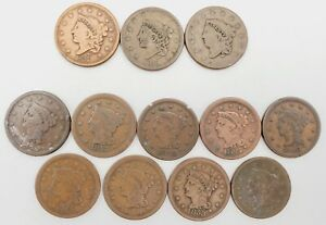 Lot of (12) 1837-1856 (3) Coronet Head & (9) Braided Hair Large Cent 1¢ Coins