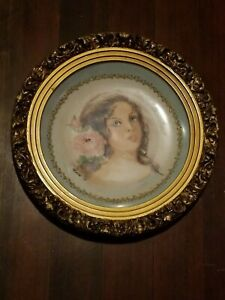 EXQUISITE OLD Vintage ROUND PICTURE FRAME With Plate signed