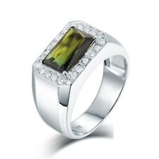 Natural Green Tourmaline & Full Cut Brilliant Diamonds Men Ring 18K White Gold