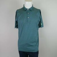 Peter Millar Blue Green Short Sleeve Buttons Up Striped Casual Polo Shirt Mens M