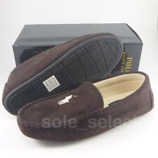 Polo Ralph Lauren Moccasin Slippers Dark Brown with Beige Pony Size 10 DS BNIB