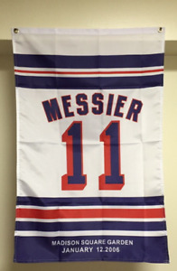 Mark Messier Brian Leetch Mike Richter Retirement Banner Flag New York Rangers