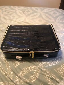 "Estee Lauder NAVY BLUE Croc Cosmetic Makeup Train Case Travel Bag 13.5""x 3""x 10"""
