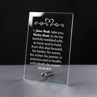 Personalised Engraved Husband Wife Wedding Vow Glass Plaque Gift GP23