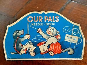"VINTAGE NEEDLE BOOK DOG CAT ""OUR PALS"" SEWING MENDING 1940'S WEST GERMANY STEEL"