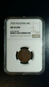 1935 PALESTINE 1 MIL NGC MS64 BN NEAR GEM UNCIRCULATED 1M Coin PRICED TO SELL!
