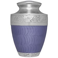 Purple, Silver, Flowers and Leaves - Brass Funeral Cremation Urn, Adult