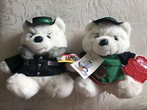 Bullybears Pair 1989,1991 Dayton Hudson Santa Bear & His Polar Club Plush W/Tags