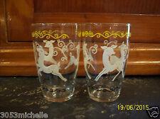 """Vintage Mid Century Libbey Dancing Deer Glasses  4 3/4"""""""
