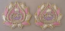 2 Hand-Embroidered Appliques  Metallic Bullion & Beads Lotus Motif