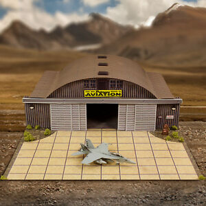 1/72, 1/64 HO Scale Aircraft Hangar Model Scenery Diorama Photo Real Kit