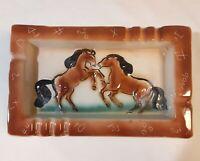 LARGE Western Horse Ceramic Ashtray Cowboy Vintage Ranch