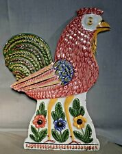 Early Delft Rooster Chicken Polychrome Faience Plaque BIG French Farmhouse Cock