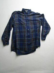 Van Heusen Mens LT Large Tall Blue Plaid Long Sleeve Button Up Dress Shirt Nice
