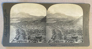 St. Pierre, The City of Dead, Mount Pelée Smoking, Martinique – Stereoview, 1902