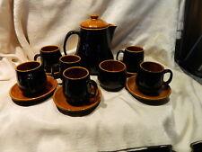 PRINKNASH POTTERY MID-CENTURY TEA/COFFEE POT SET CARAMEL/BLACK