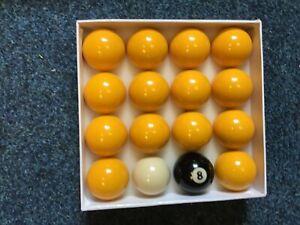 "2"" league Pool ball set ; 14 x yellow balls , number 8 ball & 1 7/8"" cue ball"