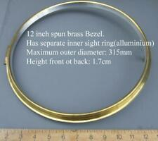 12 1/4 in clock bezel, brass for american &  SPRING dial clocks WITH GLASS