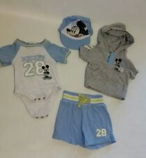 Mickey Mouse 4 Pc Infant Boys Outfit Set Shirt Shorts Hoodie Hat Disney Baby NB