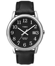 TIMEX Men's Indiglo Analog 30m Quartz Brass Black Leather Watch T2N370