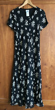 LAURA ASHLEY FLORAL PRINT MIDI DRESS Size 14 Dark Navy Blue & Beige Cap Sleeves