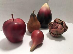 Lot of 5 Artificial Fruit & Vegetables Apple, Pear, Onion, Egg Plant, Artichoke
