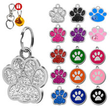 Round Bone Paw Print Custom Dog Tags Disc Free Engraved Pet Collar ID Tags